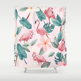 Seamless pattern flamingos and tropical flowers Shower Curtain