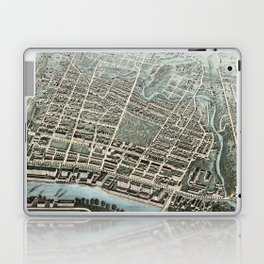Vintage Pictorial Map of Lawrence Massachusetts (1876) Laptop & iPad Skin