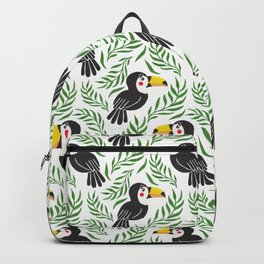 Watercolor green black yellow toucan bird floral Backpack