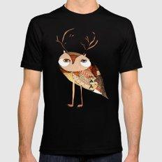 owl print, owl illustration, owl art, owl  Mens Fitted Tee SMALL Black