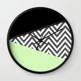 Zigzag Pattern, Chevron Pattern - Gray Green Black Wall Clock