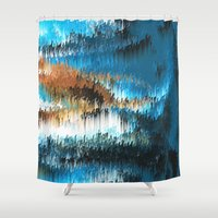 chihiro Shower Curtains featuring Blue Forest Shades by Alix Rumble
