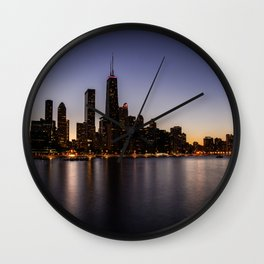 The Sunset in Chicago Wall Clock