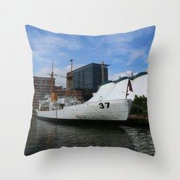 Coast Guard Cutter Taney Baltimore Harbor Throw Pillow