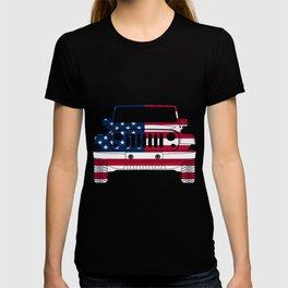 American Flag on Jeeps - USA Patriotic Girls and Guys Gift T-shirt