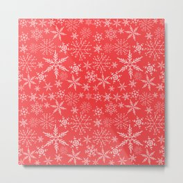 red and white snowflakes Metal Print