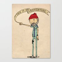 "adventure Canvas Prints featuring ""THIS IS AN ADVENTURE."" - Zissou by Derek Eads"