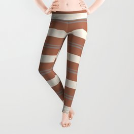 Slate Violet Gray and Creamy Off White Stripes Thick and Thin Horizontal Lines on Cavern Clay Leggings