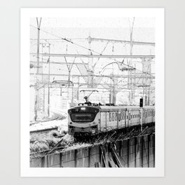 Clackety clack on the railway line Art Print
