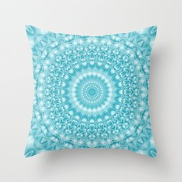 Caribbean Blue Mandala Throw Pillow