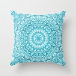 Caribbean Blue Mandala Throw Pillow