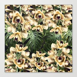 Hot Summer Tropical Orchid Jungle Print Canvas Print