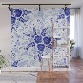 Blue floral pattern made in the technique of Russian folk art Gzhel Wall Mural