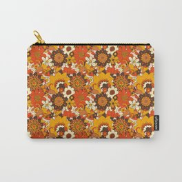 Retro 70s Flower Power, Floral, Orange Brown Yellow Psychedelic Pattern Carry-All Pouch
