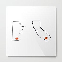 Love from Winnipeg to Palm Springs Metal Print