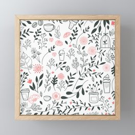 Elegant Floral Sweet Desserts Pattern Framed Mini Art Print