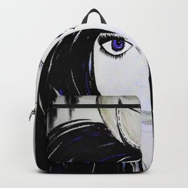 Girl with Black Hair and Hat. Blue Eyes Hand Painted by Jodi Tomer Backpack