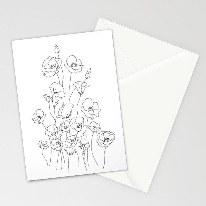 Poppy Flowers Line Art Stationery Cards