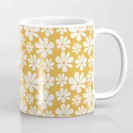 Floral Daisy Pattern - Golden Yellow Coffee Mug