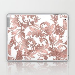 Chic girly rose gold glitter floral Laptop & iPad Skin
