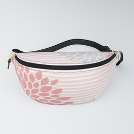 Floral and Stripes, Blush Pink, Coral, Aqua, Gray Fanny Pack