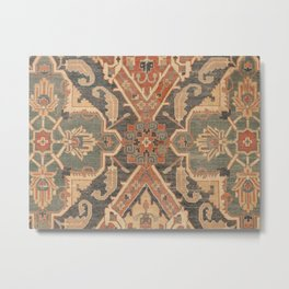 Geometric Leaves II // 18th Century Distressed Red Blue Green Colorful Ornate Accent Rug Pattern Metal Print