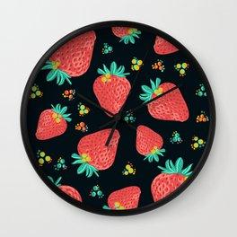 Strawberries   Black Wall Clock