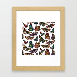 summer butterflies multi white Framed Art Print