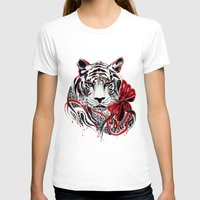 tiger T-shirts featuring White Tiger by Felicia Cirstea