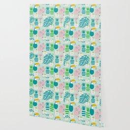 Modern tropical summer vibes Wallpaper