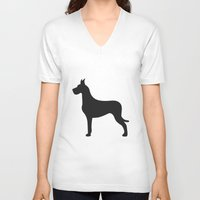 great dane V-neck T-shirts featuring Great Dane by Megan Clark