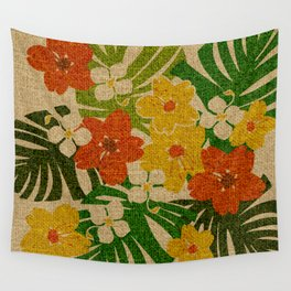 Limahuli Garden Hawaiian Floral Design Wall Tapestry