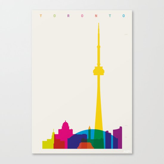 Shapes of Toronto. Accurate to scale Canvas Print
