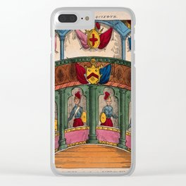 A back-drop scene to be used in a children's theatre production. Coloured lithograph. v Clear iPhone Case