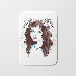 Girl with Rabbit Ears Bath Mat