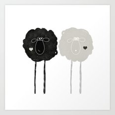 Ying Yang Sheep Art Print