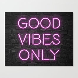 Neon Good Vibes - Pink Canvas Print
