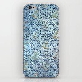 Vintage - Blue Ahoy Time for sailors iPhone Skin