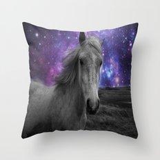 Horse Rides & Galaxy skies Throw Pillow