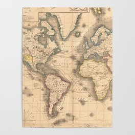 Vintage Map of the World (1850) Poster