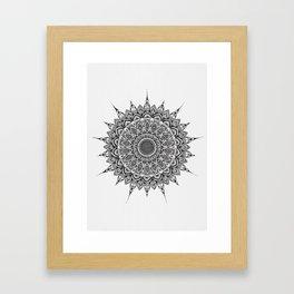 Meditation Mandala - Black Ink Framed Art Print