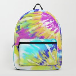 Tie Dye Spiral Pink Blue Yellow Backpack