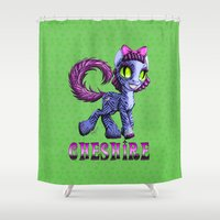 cheshire cat Shower Curtains featuring Cheshire by Jolie Bonnette Art