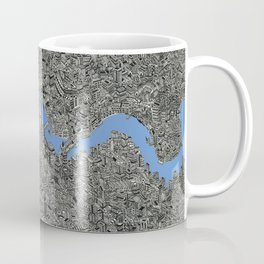 Map of London Thames Drawing Coffee Mug