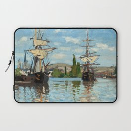 Claude Monet Ships Riding on the Seine at Rouen Laptop Sleeve