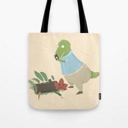 Hipster Dinosaur Instagrams his Vegan Lunch Tote Bag