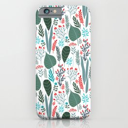 Colorful tropical laves pattern iPhone Case