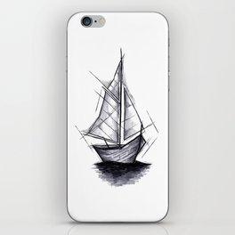 Sailboat Handmade Drawing, Art Sketch, Barca a Vela, Illustration iPhone Skin