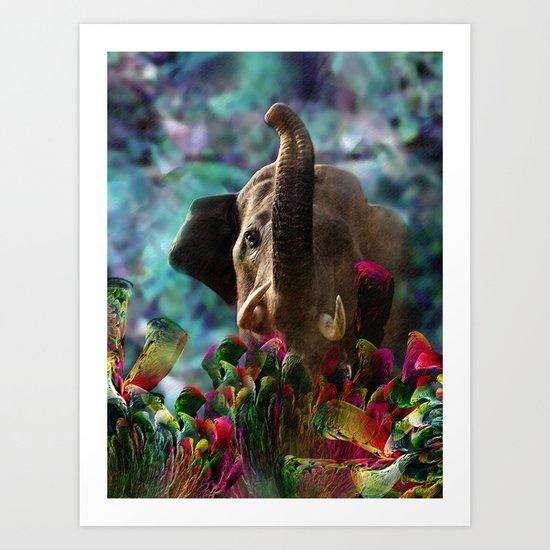 Elephant in Fractal Jungle Art Print
