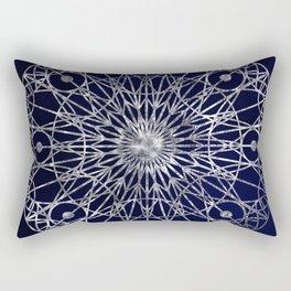 Rosette Window - Midnight Blue Rectangular Pillow